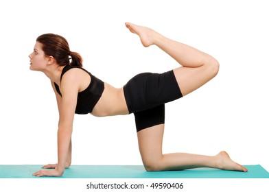 young woman doing leg curl
