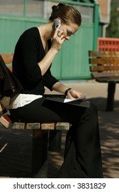 Young woman doing paperwork and talking on cell phone on park bench.