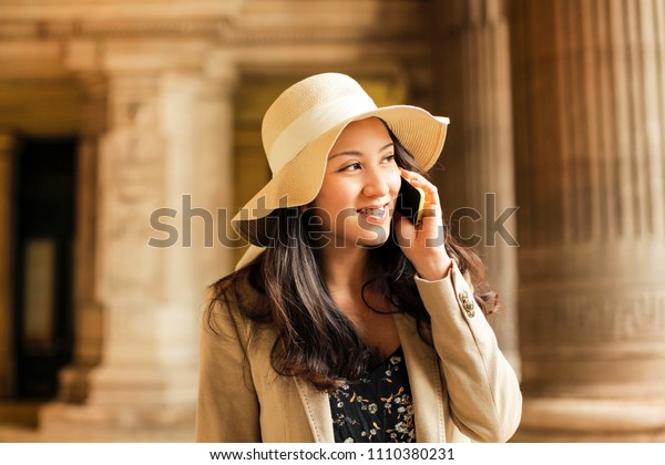 Young woman doing a phone call