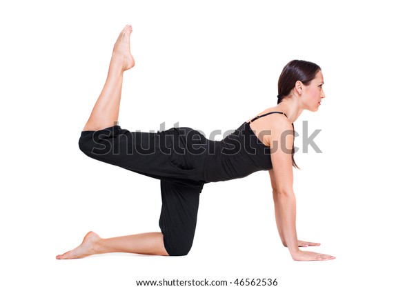 young woman doing sporty exercise. isolated on white