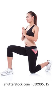 young woman doing yoga exercise, on white background