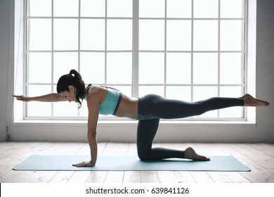 Young Woman Doing Yoga Pose Exercise Healthy Lifestyle