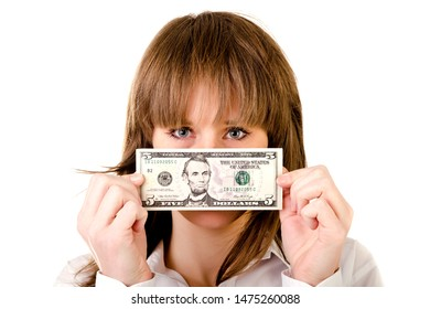 young woman with dollars isolated on a white background