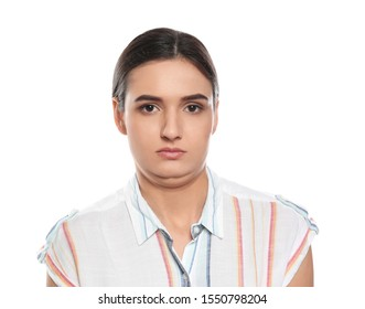 Young woman with double chin on white background