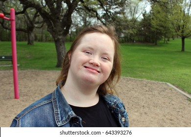 Young Woman with Down Syndrome at the Park