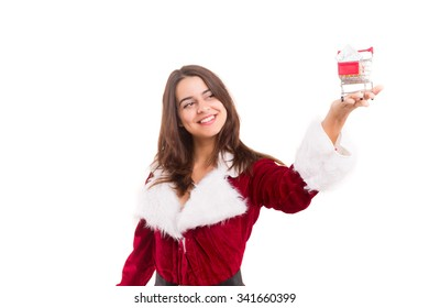 Young woman dress in Christmas costume, presenting your product