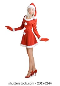 young woman dressed like Santa Claus