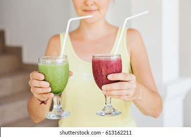 Young woman drinking healthy smoothie, organic diet, slimming down, mindful eating