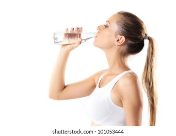 young woman drinking water, on white background