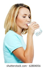 The young woman drinks water on a white background
