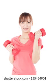 Young woman with dumbbells isolated on white background