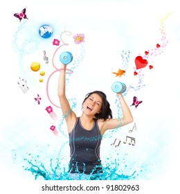Young woman with dumbbells very happy with objects like butterflies, gold fish and other