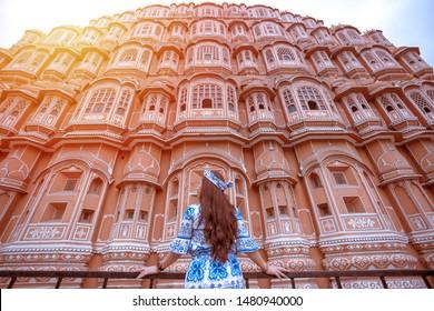 Young Woman during Sunset at Hawa Mahal, Jaipur,Rajasthan, India