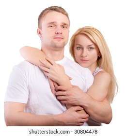 Young woman embraces the favourite person, is isolated on white background.