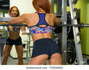 Young woman is engaged in fitness in the gym. Athletic woman is training on the gym apparatus