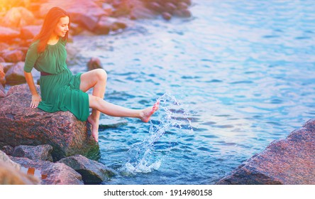 Young woman enjoy happy life at morning sunrise. Girl feel well in lake water on free beach. Summer nature beauty, people health, good sea travel relax, sun energy peace view, person live joy concept.