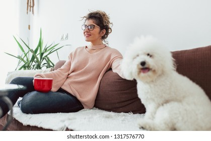Young woman enjoy with her dogs at home