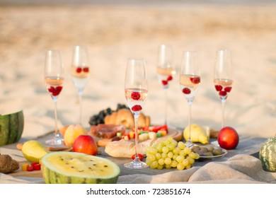 Young woman enjoying  dinner at outdoor. Summer Fun