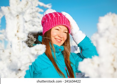 young woman enjoying winter