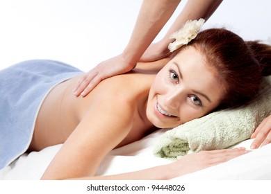 Young woman enjoyng a massage