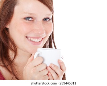 Young woman enjoys cup of coffee. All on white background.