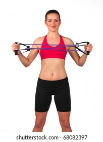 young woman exercise with elastic fitness band
