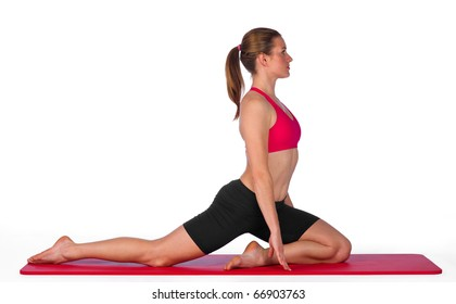 young woman exercise isolated on white background