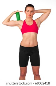 young woman exercise with pilates equipment