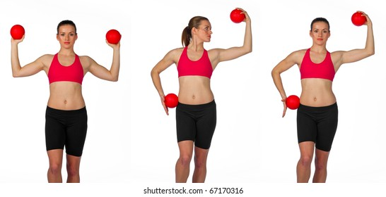 young woman exercise routine on white background