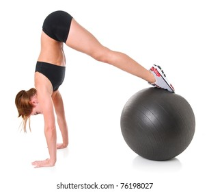 Young Woman Exercising with a Stability Ball