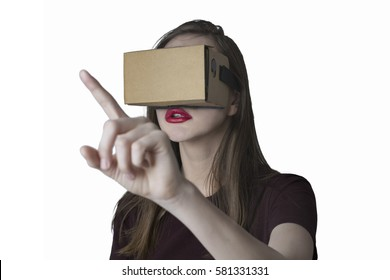 Young woman experience though virtual reality device
