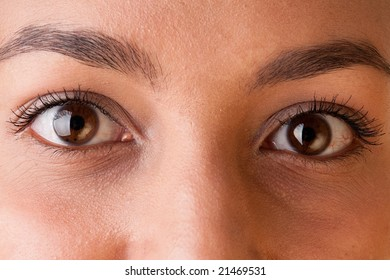 young woman eyes close up
