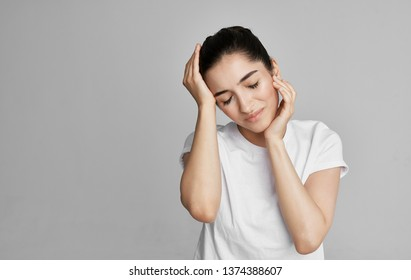 Young woman eyes closed headache health problems