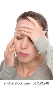 young woman with face ache, neuralgia, atypical facial pain or trigeminal nerve pain, isolated