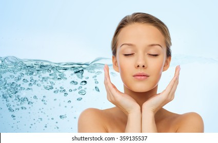 young woman face and hands