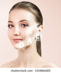 Young woman face in honeycombs with graphic icons of vitamins and minerals for skin health.