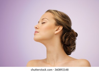young woman face side view and shoulders