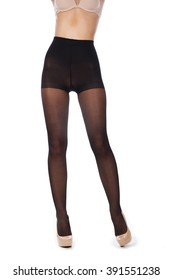 2c05cce2b277c Young woman faceless tall legs with black stockings tights pantyhose  without panties isolated on white high