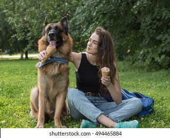 Young woman is feeding the dog an ice-cream, in the park, on a hot summer day.