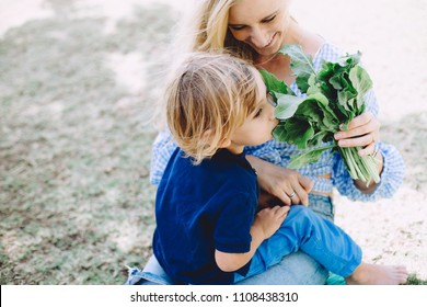 Young woman feeding her little son with healthy food at summer picnic