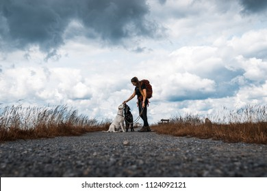 Young woman feeds two dogs on a walk in front of a dramatic sky