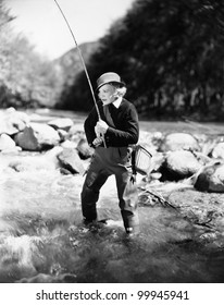 Young woman fishing in river