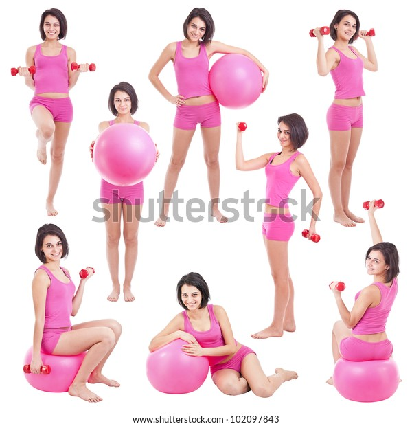 Young woman with fit ball ,collage