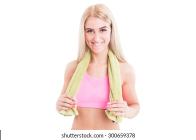 Young woman fitness or aerobic instructor smiling confident isolated on white