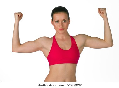 young woman in fitness clothes exercise
