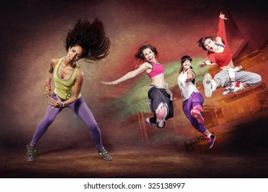 young woman at fitness exercise or sport dancing