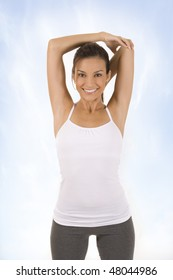 Young woman in a fitness pose