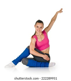 Young woman fitness stretching exercise on the white background