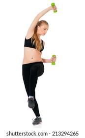 Young woman in fitness wear exercising with dumbbells, isolated on white background