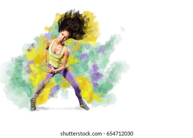 young woman at fitness or zumba exercise or dancing